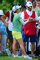 Ai Miyazato (JPN) tosses a ball on the 1st tee before Saturday's third round of the 72nd U.S. Women's Open Championship, at Trump National Golf Club, Bedminster, New Jersey. 7/15/2017.<br /> Picture: Golffile | Ken Murray<br /> <br /> <br /> All photo usage must carry mandatory copyright credit (&copy; Golffile | Ken Murray)