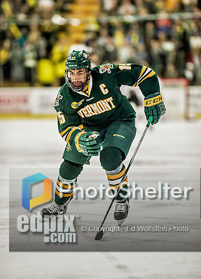 17 October 2015:  University of Vermont Catamount Defenseman Yvan Pattyn, a Senior from St. Anne, Manitoba, in first period action against the University of Nebraska Omaha Mavericks at Gutterson Fieldhouse in Burlington, Vermont. The Catamounts fell to the Mavericks 3-1. Mandatory Credit: Ed Wolfstein Photo *** RAW (NEF) Image File Available ***
