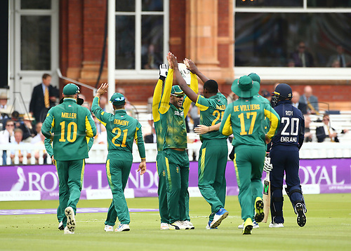 May 29th 2017, Lords, London, England, One Day International Cricket, England versus South Africa; South Africa celebrate the wicket of Jason Roy, caught Hashim Amla of South Africa, bowled by Kagiso Rabada of South Africa