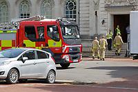 Pictured: Fire service attends a fire alarm at Cardiff City Hall, Wales, UK. Friday 15 June 2018