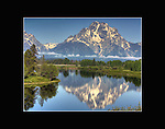 Oxbow Bend with Mt. Moran reflecting in the Snake River.