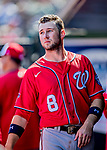 29 February 2020: Washington Nationals top prospect infielder Carter Kieboom looks out from the dugout during a Spring Training game against the St. Louis Cardinals at Roger Dean Stadium in Jupiter, Florida. The Cardinals defeated the Nationals 6-3 in Grapefruit League play. Mandatory Credit: Ed Wolfstein Photo *** RAW (NEF) Image File Available ***