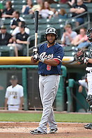 Andy Marte (8) of the Reno Aces at bat against the Salt Lake Bees at Smith's Ballpark on May 4, 2014 in Salt Lake City, Utah.  (Stephen Smith/Four Seam Images)