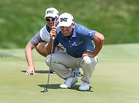 Potomac, MD - June 30, 2018:  Charles Howell III (USA) lines up his putt during Round 3 at the Quicken Loans National Tournament at TPC Potomac in Potomac, MD, June 30, 2018.  (Photo by Elliott Brown/Media Images International)