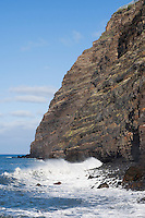 Spain, Canary Islands, La Palma, Puerto de Tazacorte: surf at cliff Punta de Juan Graje