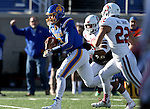 BROOKINGS, SD - NOVEMBER 12:  Taryn Christion #3 from South Dakota State University eyes the end zone past Alex Gray #22 from the University of South Dakota in the first half at the Dana J. Dykhouse Stadium November 12, 2016 in Brookings, South Dakota. (Photo by Dave Eggen/Inertia)