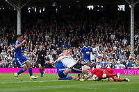 Brentford's Daniel Bentley saves from the rebound shot of Fulham's Tom Cairney just after also saving his penalty          <br /> <br /> <br /> Photographer Craig Mercer/CameraSport<br /> <br /> The EFL Sky Bet Championship - Fulham v Brentford  - Saturday 29th April 2017 - Craven Cottage - London <br /> <br /> World Copyright &copy; 2017 CameraSport. All rights reserved. 43 Linden Ave. Countesthorpe. Leicester. England. LE8 5PG - Tel: +44 (0) 116 277 4147 - admin@camerasport.com - www.camerasport.com