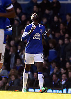 Pictured: Lacina Traore of Everton celebrating his opening goal. Sunday 16 February 2014<br />