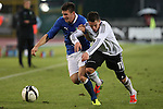 Riccardo Fiamozzi and Thomas Pledl in action during the Four Nations football match tournament Italy vs Germany at Rovereto, on November 14, 2013.  <br /> <br /> Pierre Teyssot