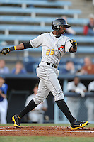 West Virginia Power center fielder Greg Polanco #25 awaits a pitch during a game between the West Virginia Power and the Asheville Tourists at McCormick Field, Asheville, North Carolina April 9, 2012. The Tourists won 13-5  8-4  (Tony Farlow/Four Seam Images)..