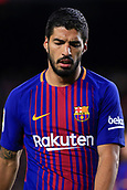7th January 2018, Camp Nou, Barcelona, Spain; La Liga football, Barcelona versus Levante; Luis Suarez of FC Barcelona not happy with his shot