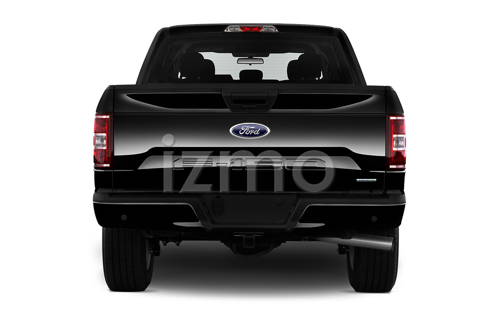 Straight rear view of 2019 Ford F-150 XL-SuperCrew 2 Door Pick-up Rear View  stock images