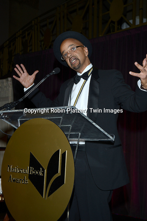 winner for fiction James McBride accepts the 2013 National Book Awards Dinner and Ceremony on November 20, 2013 at Cipriani Wall Street in New York City.