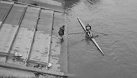 Mortlake/Chiswick. Greater London. London. 2017 Bourne Regatta At Chiswick Bridge. Course, Runs from and to Mortlake Anglian and Alpha Boathouse, dependent on the Tide Direction. Chiswick.  River Thames. <br /> <br /> General view, Single , docking at Tideway Scullers School Boathouse, Slipway.<br /> <br /> Saturday  06/05/2017<br /> <br /> [Mandatory Credit Peter SPURRIER/Intersport Images]