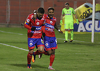 PASTO -COLOMBIA, 20-09-2017: Javier Reina (Izq) jugador del Deportivo Pasto celebra con Yesus Cabrera después de anotar el primer gol de su equipo a Atlético Nacional durante partido por la fecha 11 de la Liga Águila II 201/ jugado en el estadio La Libertad de Pasto. / Javier Reina (L) player of Deportivo Pasto celebrates with Yesus Cabrera after scoring the first goal of his team to Atletico Nacional during match for the date 11 of Aguila League II 2017 played at La Libertad stadium in Pasto. Photo: VizzorImage / Leonardo Castro / Cont