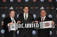 DC United President and CEO Kevin Payne (left) Head Coach Curt Onalfo (center) and General Manager Dave Kasper (right). During the presentation of the new Head Coach for the 2010 season at RFK Stadium, Tuesday January 5, 2010.
