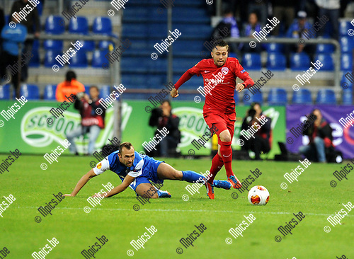2013-10-03 / Voetbal / seizoen 2013-2014 / UEFA EUROPA LEAGUE / KRC Genk - FC Thun / Thomas Buffel with Andreas Wittwer (r. Thun)<br />