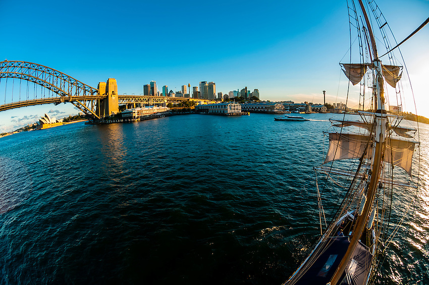 """View of the Sydney Harbour Bridge and the Sydney Opera House from the mast of the tall ship """"Southern Swan"""", Sydney, New South Wales, Australia"""