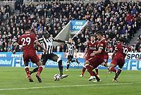 Newcastle United's Mohamed Diame misses a last gasp effort<br /> <br /> Photographer Rich Linley/CameraSport<br /> <br /> The Premier League -  Newcastle United v Liverpool - Sunday 1st October 2017 - St James' Park - Newcastle<br /> <br /> World Copyright &copy; 2017 CameraSport. All rights reserved. 43 Linden Ave. Countesthorpe. Leicester. England. LE8 5PG - Tel: +44 (0) 116 277 4147 - admin@camerasport.com - www.camerasport.com