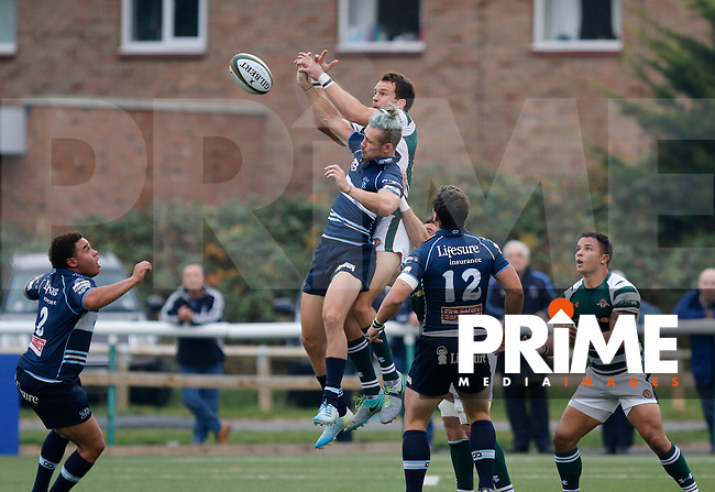 The ball gets away from Ealing's Joe Munro during the Greene King IPA Championship match between Ealing Trailfinders and Bedford Blues at Castle Bar , West Ealing , England  on 29 October 2016. Photo by Carlton Myrie / PRiME Media