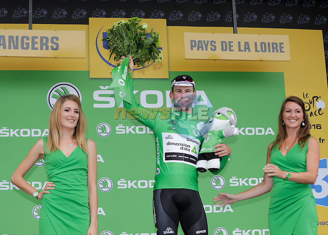 Mark Cavendish (GBR) Dimension Data wins and retains the points Green Jersey at the end of Stage 3 of the 2016 Tour de France, running 223.5km from Granville to Angers, France . 4th July 2016.<br /> Picture: Eoin Clarke | Newsfile<br /> <br /> <br /> All photos usage must carry mandatory copyright credit (&copy; Newsfile | Eoin Clarke)