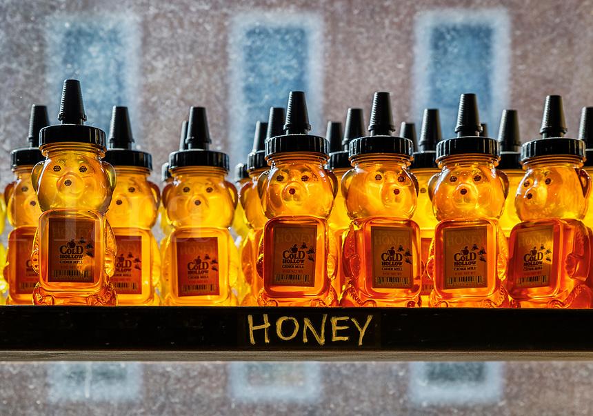 Heney bears on a farm market shelf.