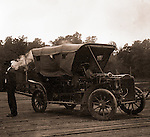 Richmond VA:  Brady Stewart and his 1906 Buick Model F waiting on a pole ferry to cross a river near RIchmond - 1907.  Brady Stewart continued to travel throughout the region after his brothers untimely death.  Since both the Stewarts and Bradys families were active during the Civil and Revolutionary Wars, he decided to visit Richmond and battlefields along the way.