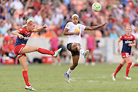 Houston, TX - Sunday Oct. 09, 2016: Megan Oyster, Jessica McDonald during the National Women's Soccer League (NWSL) Championship match between the Washington Spirit and the Western New York Flash at BBVA Compass Stadium. The Western New York Flash win 3-2 on penalty kicks after playing to a 2-2 tie.