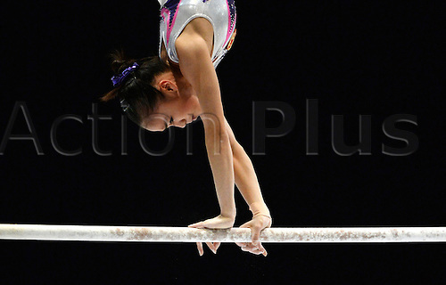 05.10.2013. Antwerp, Belgium. Huidan Huang of China competes on the Asymmetric bars during the women's Apparatus final at the Artistic Gymnastics World Championships in Antwerp, Belgium, 05 October 2013.