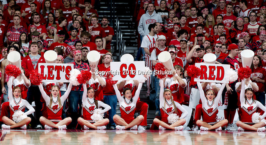 Wisconsin Badgers cheerleaders cheer during a Big Ten Conference NCAA college basketball game against the Illinois Fighting Illini on Sunday, March 4, 2012 in Madison, Wisconsin. The Badgers won 70-56. (Photo by David Stluka)