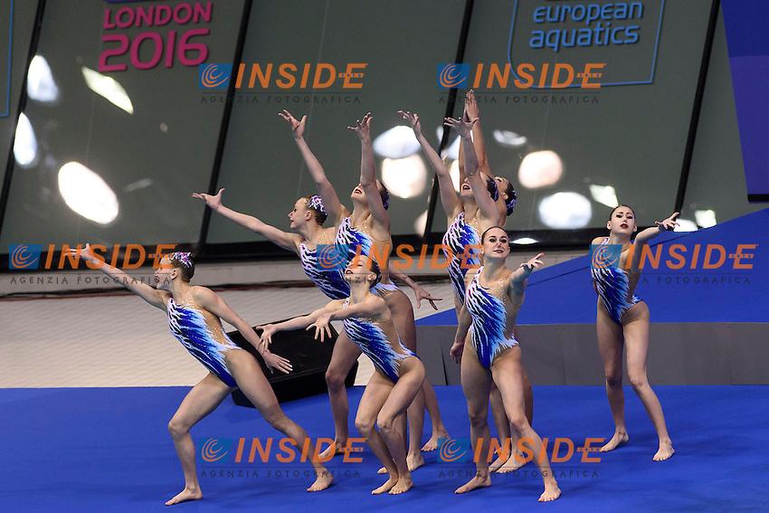 BELARUS BLR <br /> LIMANOUSKAYA Iryna YESIPOVICH Veronika SHULHINA Hanna TARAKHOVICH Anastasiya TALEIKO Volha VALASACH Valeryia NAVASIOLAVA Anastasiya KHANDOSHKA Vasilina Team Free Preliminary  <br /> London, Queen Elizabeth II Olympic Park Pool <br /> LEN 2016 European Aquatics Elite Championships <br /> Synchronized Swimming <br /> Day 03 10-05-2016<br /> Photo Andrea Staccioli/Deepbluemedia/Insidefoto