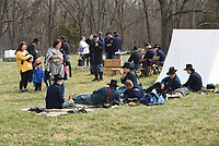 NWA Democrat-Gazette/FLIP PUTTHOFF<br /> BATTLE OF PEA RIDGE REMEMBERED<br /> Families visit a Civil War encampment on Saturday March 17 2018 at Pea Ridge National Military Park east of Pea Ridge. Education activities at the Civil War battlefield observed the 136th anniversary of The Battle of Pea Ridge that raged March 7-8, 1862. The event included cannon firing, Civil War campsites, speakers and a concert by the Northwest Arkansas Heritage Brass Ensemble.
