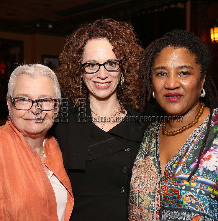 Paula Vogel, Rebecca Taichman and Lynn Nottage attends the 2017 New York Drama Critics' Circle Awards Reception at Feinstein's / 54 Below on 5/18/2017 in New York City.