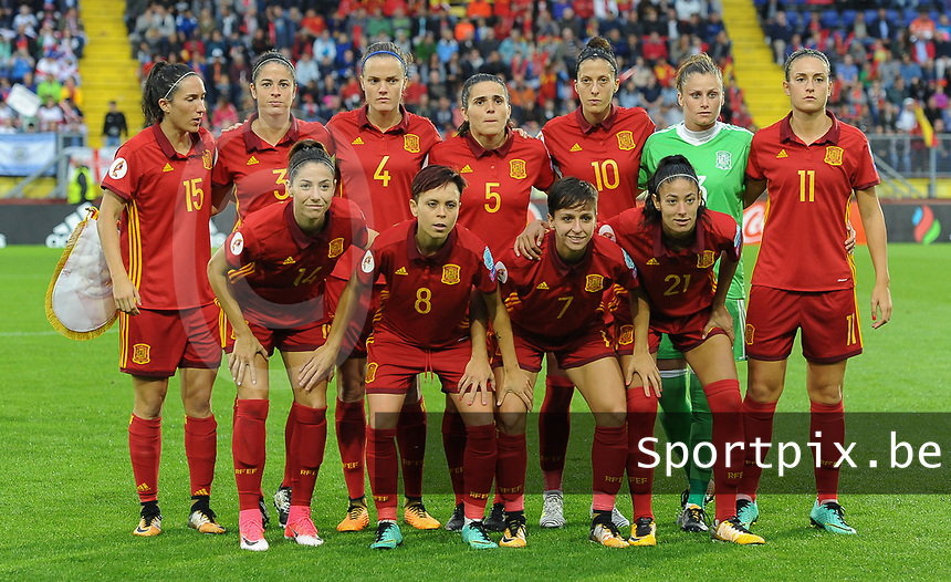 20170723 - BREDA , NETHERLANDS : Spanish team pictured during the female soccer game between England and Spain  , the second game in group D at the Women's Euro 2017 , European Championship in The Netherlands 2017 , Sunday 23 th June 2017 at Stadion Rat Verlegh in Breda , The Netherlands PHOTO SPORTPIX.BE | DIRK VUYLSTEKE