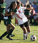 Gabriela Vega plays in the 4-1 Douglas victory over Manogue on Tuesday, Sept. 20, 2011, in Gardnerville, Nev..Photo by Cathleen Allison