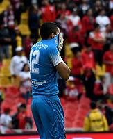 BOGOTÁ-COLOMBIA, 03-03-2019: Juan Valencia de Rionegro Águilas Doradas, reacciona al empatar partido de la fecha 8 entre Independiente Santa Fe y Rionegro Águilas Doradas, por la Liga Aguila I-2019, en el estadio Nemesio Camacho El Campin de la ciudad de Bogotá. / Juan Valencia of Rionegro Aguilas Doradas, react after tie a match of the 8th date between Independiente Santa Fe and Rionegro Aguilas Doradas, for the Liga Aguila I 2019 at the Nemesio Camacho El Campin Stadium in Bogota city, Photo: VizzorImage / Luis Ramírez / Staff.