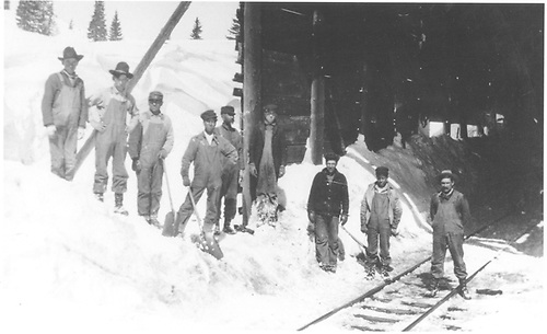 Snow shovelers at D&amp;RG Cumbres snowshed.<br /> D&amp;RG  Cumbres, CO  Taken by Lively, Charles R.