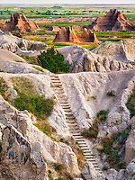 Ladder on Notch Trail. Badlands National Park, South Dakota.