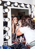 Miss Rodeo Colorado 2016 contestant Sara Coblentz puts on makeup and preps for a fashion show during at the Miss Rodeo Queen Colorado competition at the Greely Stampede in Greely, Colorado, July 3, 2015.<br /> <br /> Photo by Matt Nager
