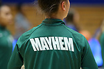 "DURHAM, NC - NOVEMBER 05: Alaska Anchorage warmup jacket with the team motto ""Mayhem"" on the back. The Duke University Blue Devils hosted the University of Alaska Anchorage Seawolves on November 5, 2017 at Cameron Indoor Stadium in Durham, NC in a Division I women's college basketball preseason exhibition game. Duke won the game 87-56."