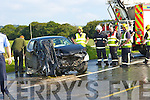The crash scene on the Castleisland/Scartaglen road on Saturday afternoon three people were taken to Kerry General hospital by ambulance   Copyright Kerry's Eye 2008