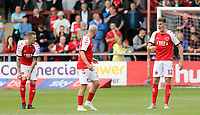 Fleetwood Town's Paddy Madden (left) and Jimmy Dunne exchange words of exasperation after Oxford United's Elliott Moore  scored the his sides equalising goal to make the score 1-1<br /> <br /> Photographer Rich Linley/CameraSport<br /> <br /> The EFL Sky Bet League One - Fleetwood Town v Oxford United - Saturday 7th September 2019 - Highbury Stadium - Fleetwood<br /> <br /> World Copyright © 2019 CameraSport. All rights reserved. 43 Linden Ave. Countesthorpe. Leicester. England. LE8 5PG - Tel: +44 (0) 116 277 4147 - admin@camerasport.com - www.camerasport.com