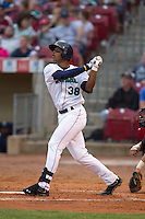 Cedar Rapids Kernels outfielder Adam Walker #38 bats during a game against the Kane County Cougars at Veterans Memorial Stadium on June 8, 2013 in Cedar Rapids, Iowa. (Brace Hemmelgarn/Four Seam Images)