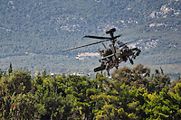 Apache helicopter aerobatic performance during Air Show in Athens, Greece