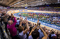 Picture by Alex Whitehead/SWpix.com - 05/03/2016 - Cycling - 2016 UCI Track Cycling World Championships, Day 4 - Lee Valley VeloPark, London, England - Men's Sprint final, Great Britain's Jason Kenny vs Australia's Matthew Glaetzer. Fans celebrate Kenny's win.