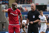 Nottingham Forest's Adlene Guedioura has words with Referee Scott Duncan <br /> <br /> Photographer Ian Cook/CameraSport<br /> <br /> The EFL Sky Bet Championship - Swansea City v Nottingham Forest - Saturday 15th September 2018 - Liberty Stadium - Swansea<br /> <br /> World Copyright &copy; 2018 CameraSport. All rights reserved. 43 Linden Ave. Countesthorpe. Leicester. England. LE8 5PG - Tel: +44 (0) 116 277 4147 - admin@camerasport.com - www.camerasport.com
