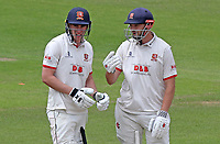 Daniel Lawrence (l) and Nick Browne (r) of Essex chat between overs during Nottinghamshire CCC vs Essex CCC, Specsavers County Championship Division 1 Cricket at Trent Bridge on 1st July 2019