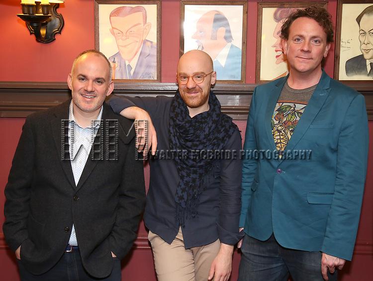 "Zachary Laks, Tom De Trinis and Drew Droege During the ""Happy Birthday Doug"" photo call at Sardi's Restaurant on February 5, 2020 in New York City."