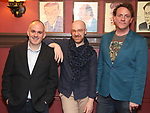 "Zachary Laks, Tom De Trinis and Drew Droege During the ""Happy Birthday Doug"" photo call at Sardi's Restaurant on February 5, 2020 in New York City."