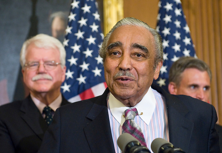 From left, House Education and Labor Committee chairman George Miller, D-Calif., House Ways and Means Committee chairman Charlie Rangel, D-N.Y., and Rep. Robert Andrews, D-N.J., participate in a news conference on the House's healthcare reform bill on Friday, July 17, 2009.